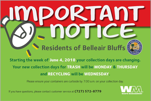 TRASH/RECYCLING COLLECTION DAYS CHANGED