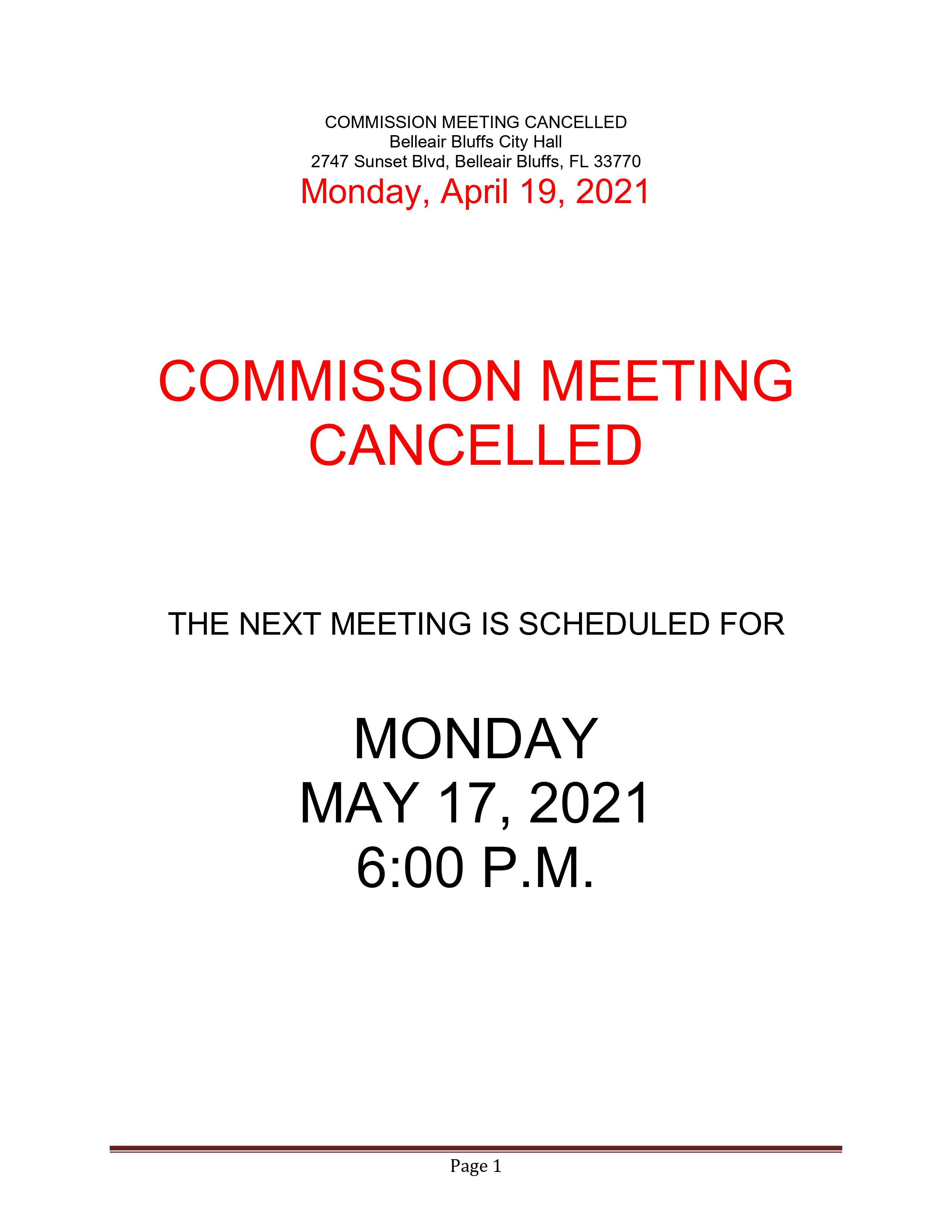 April 19, 2021 Meeting Cancellation Notice